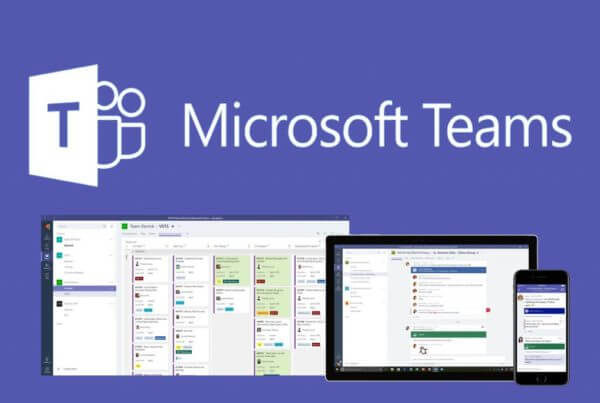 Microsoft Teams logo and devices
