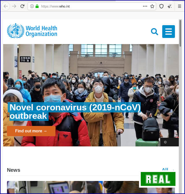 Real World Health Organization site